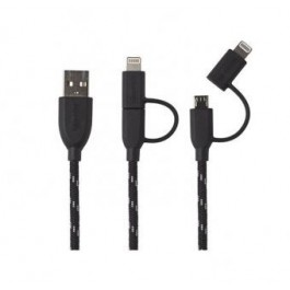 Cable Boompods Duo Negro Microusb/apple 1m