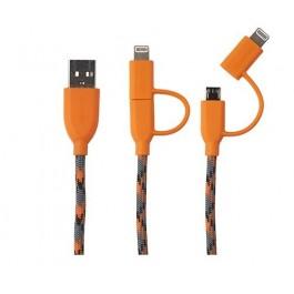 Cable Boompods Duo Naranja Microusb/apple 1m
