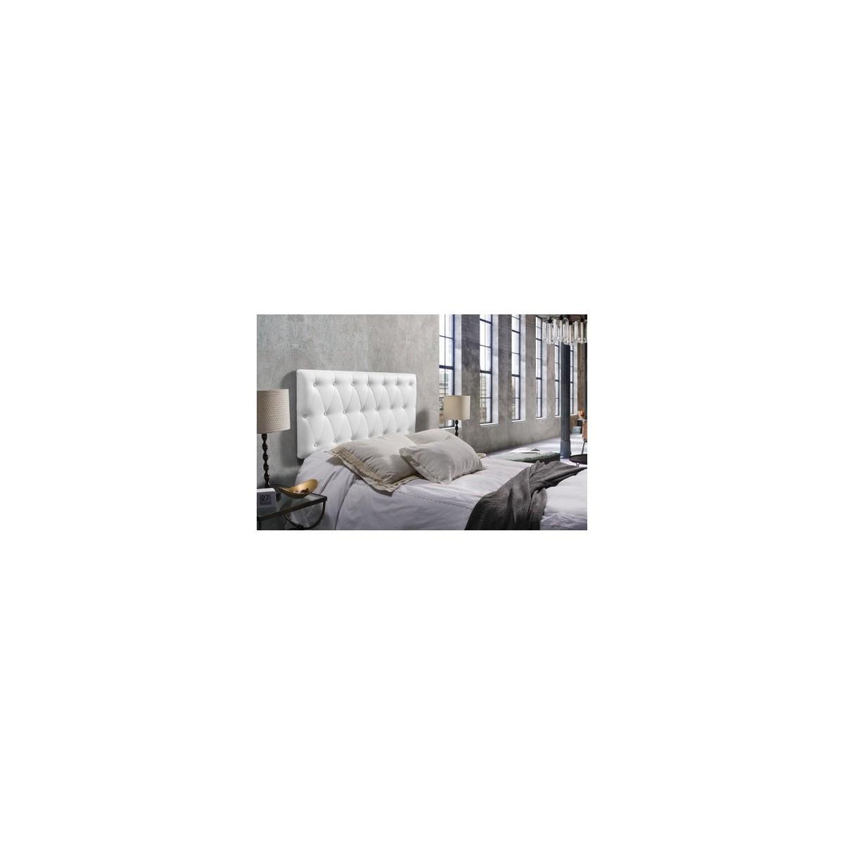 Cabecero Capitoné Tapizado Polipiel 135x60 cm Blanco