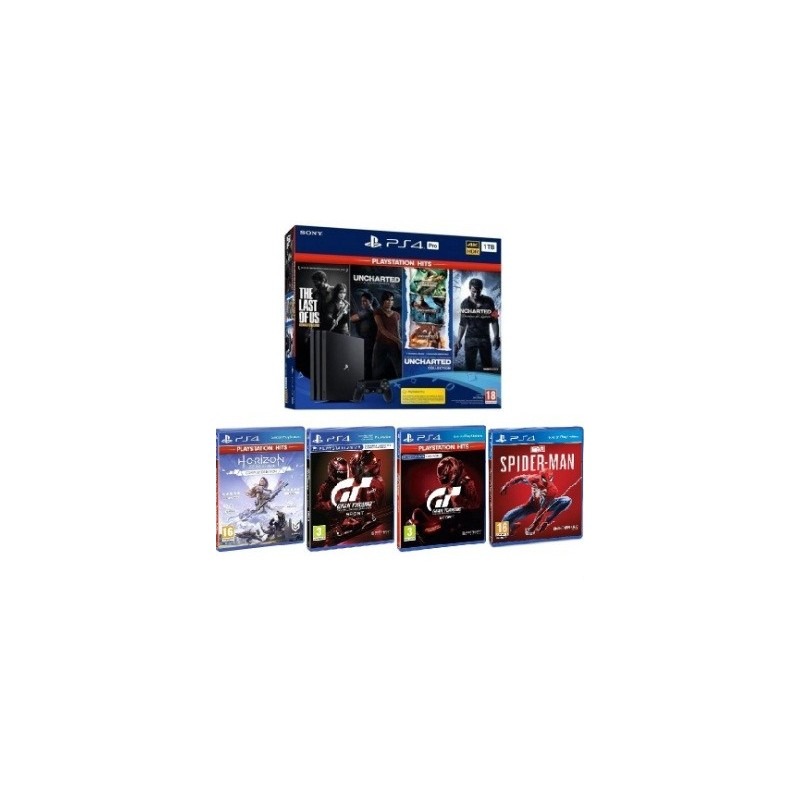 Consola Sony PS4 PRO + 4 Juegos (Regalo: MARVEL'S SPIDER-MAN + MEDIEVIL)