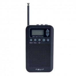 Radio Nevir NVR135D-N Negro, De Bolsillo, Digital AM/FM, Display LCD, Incluye Auriculares