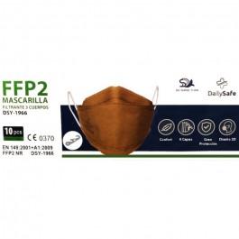 Caja 10 uds Mascarilla FFP2 3 Cuerpos Marrón